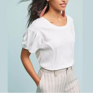 Anthropologie 9-h15 stcl White Pleated Sleeve Top!